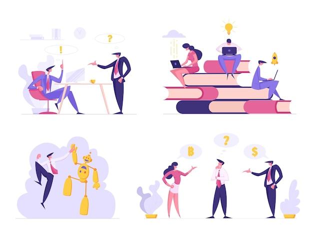 Mensen uit het bedrijfsleven in kantoorsituaties instellen