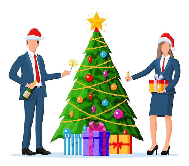 Mensen uit het bedrijfsleven in kerstmutsen op vakantie. kantoorcollega's met boom, champagne en cadeau. zakenvrouw en man viering van het nieuwe jaar. kantoorfeest, bedrijfsvakantie. platte vectorillustratie