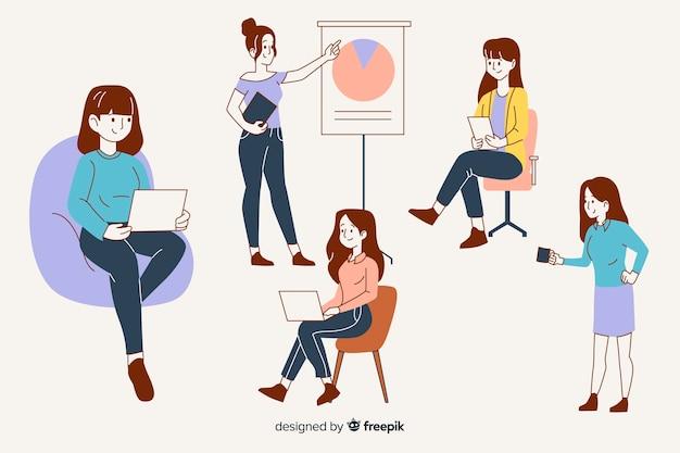 Mensen uit het bedrijfsleven in koreaanse tekenstijl