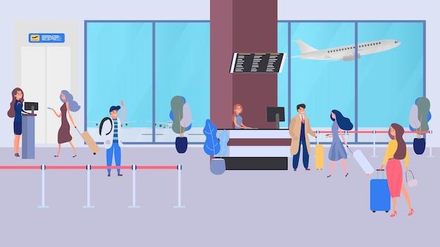 Mensen uit het bedrijfsleven in luchthaventerminal, veiligheidscontrole, controlepost, beveiliging, beveiligingspoort.
