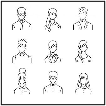 Mensen uit het bedrijfsleven in moderne platte lijn, jonge mensen uit het bedrijfsleven