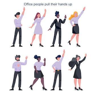 Mensen uit het bedrijfsleven in officiële kleren met hun hand op. werknemer