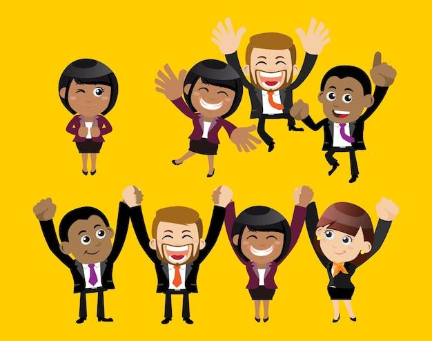 Mensen uit het bedrijfsleven in overwinningsviering en partnerschapsconcept