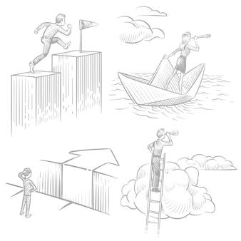 Mensen uit het bedrijfsleven in schetsstijl op zoek naar oplossingen, carrièresucces, nieuw ideeënconcept