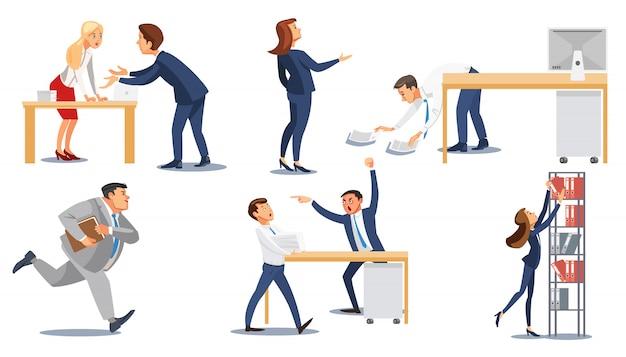 Mensen uit het bedrijfsleven in stress op het werk flat vector set