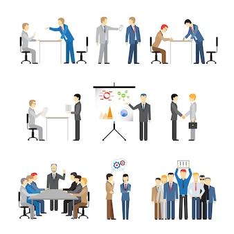 Mensen uit het bedrijfsleven in verschillende poses voor teamwerk, vergaderingen en conferenties.