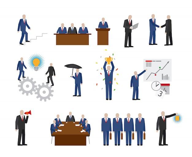 Mensen uit het bedrijfsleven in vlakke stijl