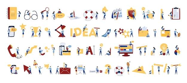 Mensen uit het bedrijfsleven instellen. office-personages werken in teamverband. groep zakenlieden in pakken in verschillende poses met sleutel, schaken en gloeilamp. geïsoleerde vectorillustratie in cartoon stijl