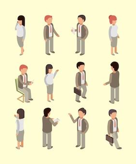 Mensen uit het bedrijfsleven isometrische set
