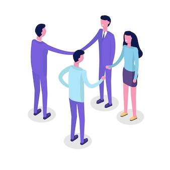 Mensen uit het bedrijfsleven isometrische tekens, collega. teamwork en partnerschap concept. isometrische illustratie op witte achtergrond.