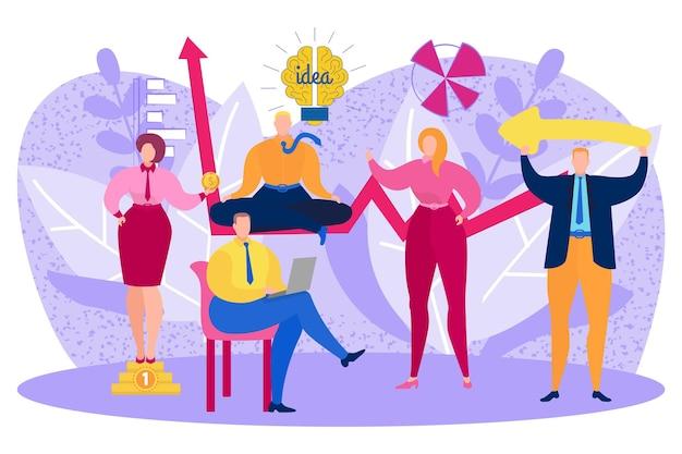 Mensen uit het bedrijfsleven karakter teamwerk creatief idee met gloeilamp, kantoorbediende werken samen platte vectorillustratie, geïsoleerd op wit.