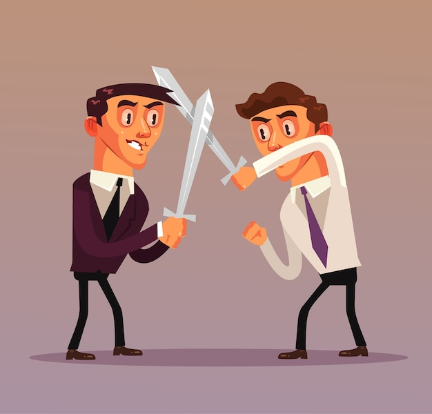 Mensen uit het bedrijfsleven karakters vechten illustratie
