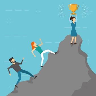 Mensen uit het bedrijfsleven klimmen berg trofee, vlakke stijl