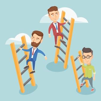 Mensen uit het bedrijfsleven klimmen naar succes.