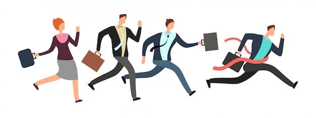 Mensen uit het bedrijfsleven lopen met leider kruising finishlijn.