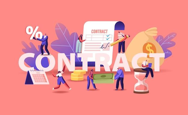 Mensen uit het bedrijfsleven maken een dealovereenkomst, controleren en ondertekenen contractconcept. cartoon vlakke afbeelding