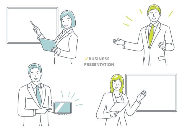 Mensen uit het bedrijfsleven maken een presentatieset
