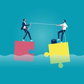 Mensen uit het bedrijfsleven matchen de puzzel voor succes