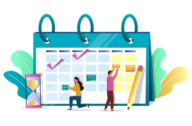 Mensen uit het bedrijfsleven medewerkers planning schema op kalender, vectorillustratie. tijdsbeheer. campagne plannen.