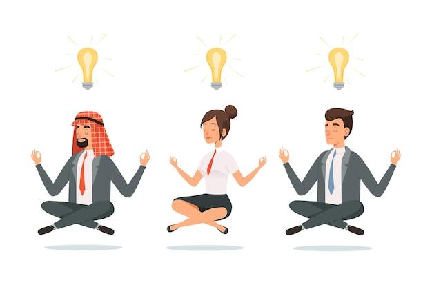 Mensen uit het bedrijfsleven meditatie.