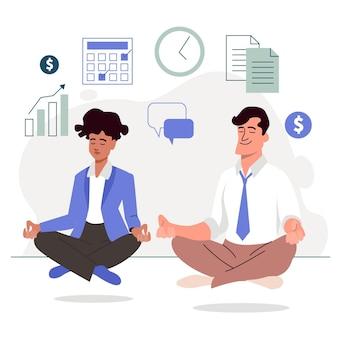 Mensen uit het bedrijfsleven mediteren illustratie