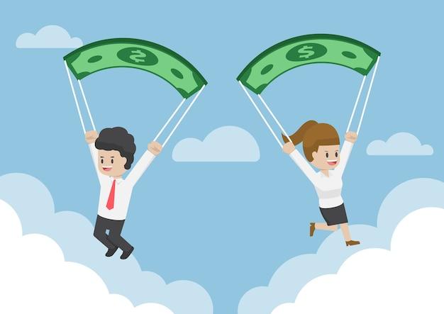 Mensen uit het bedrijfsleven met behulp van dollar bankbiljet als een valscherm