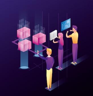 Mensen uit het bedrijfsleven met datacenter netwerkpictogrammen
