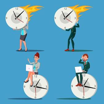 Mensen uit het bedrijfsleven met een grote klok illustratie set