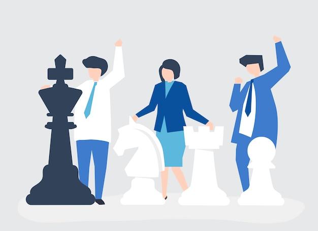 Mensen uit het bedrijfsleven met gigantische schaakstukken