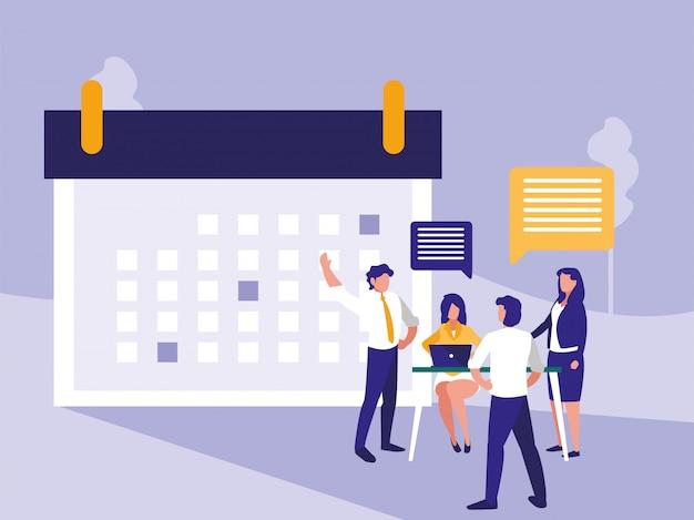 Mensen uit het bedrijfsleven met kalenderpictogram