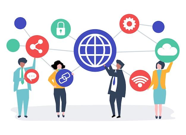 Mensen uit het bedrijfsleven met pictogrammen van de verbinding