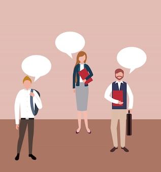 Mensen uit het bedrijfsleven met tekstballon