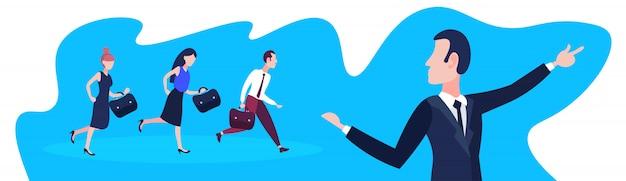 Mensen uit het bedrijfsleven na teamleider