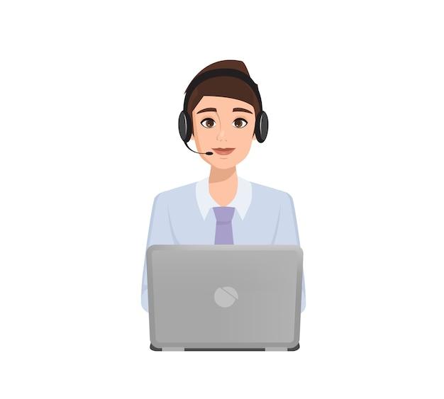 Mensen uit het bedrijfsleven naar het callcenter. klantenservice karakter.