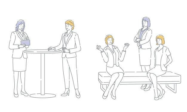 Mensen uit het bedrijfsleven nemen een pauze gemakkelijk te gebruiken eenvoudige platte vectorillustratie set geïsoleerd op een witte