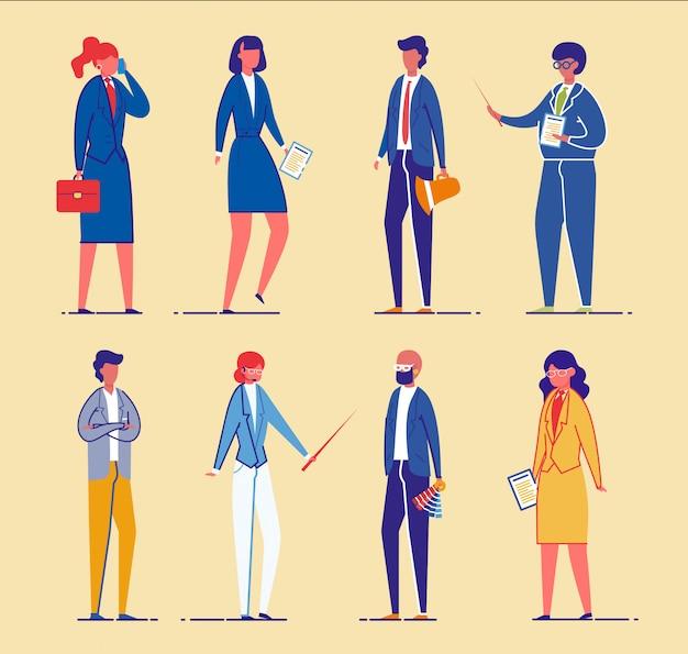 Mensen uit het bedrijfsleven of kantoorpersoneel, managers instellen.
