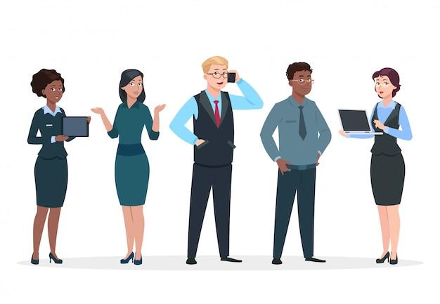 Mensen uit het bedrijfsleven. office team stripfiguren. groep bedrijfsmannen vrouwen, staande personen. teamwerk collega's concept