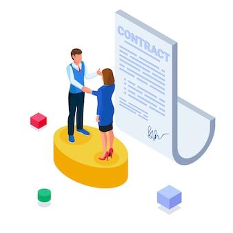 Mensen uit het bedrijfsleven ondertekenen contractuele overeenkomsten.