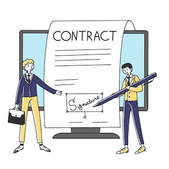 Mensen uit het bedrijfsleven ondertekenen online contract met elektronische handtekening