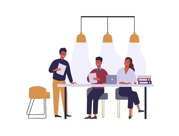 Mensen uit het bedrijfsleven ontmoeten platte vectorillustratie. collega's stripfiguren discussie in vergaderruimte. zakelijk partnerschap en onderhandelingen. medewerkers coworking ruimte geïsoleerde clipart.