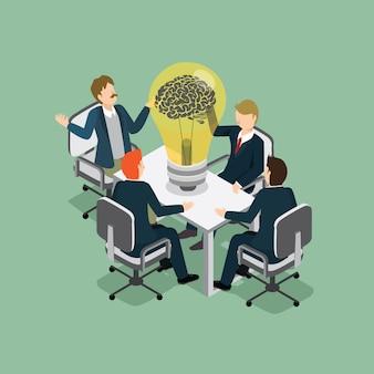 Mensen uit het bedrijfsleven ontmoeting met idee