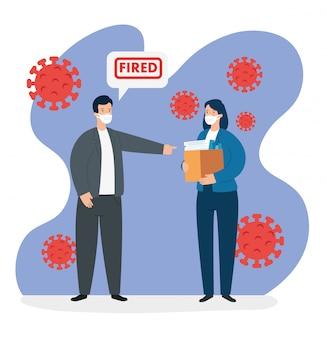 Mensen uit het bedrijfsleven ontslagen van werk voor covid 19 pandemisch illustratieontwerp