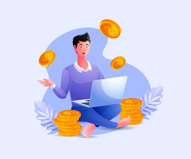 Mensen uit het bedrijfsleven ontspannen werken en verdienen veel geld