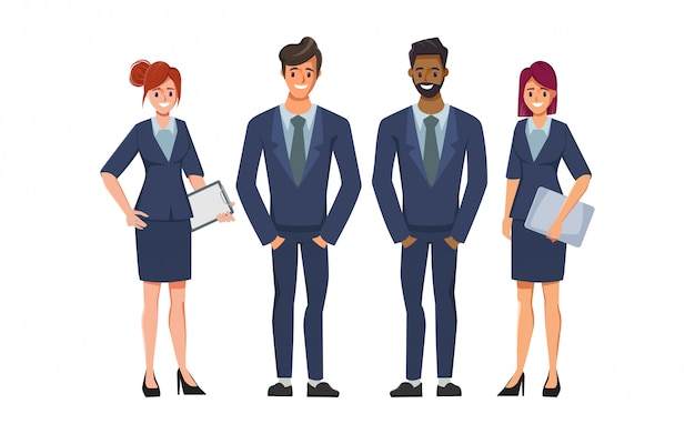 Mensen uit het bedrijfsleven passen bij karakter in teamwerk. mensen uit het bedrijfsleven om een baan te huren.
