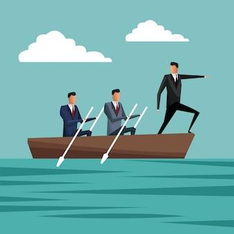 Mensen uit het bedrijfsleven peddelen team werk manager groei