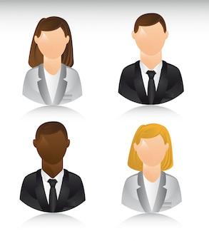 Mensen uit het bedrijfsleven pictogrammen met schaduw vectorillustratie