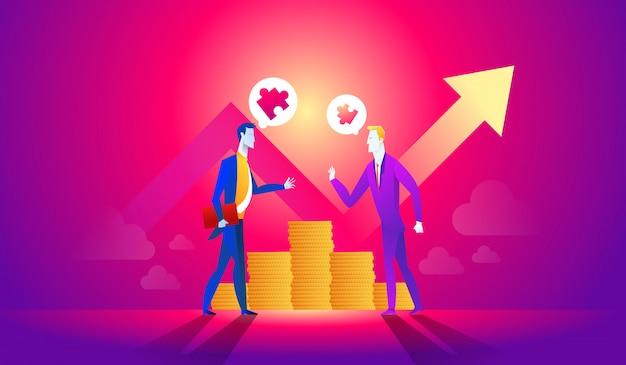 Mensen uit het bedrijfsleven praten en presenteren idee voor het maken van geld