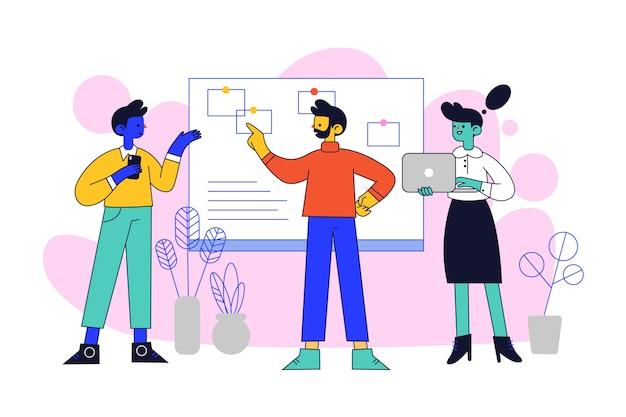 Mensen uit het bedrijfsleven praten en vrouw met laptop