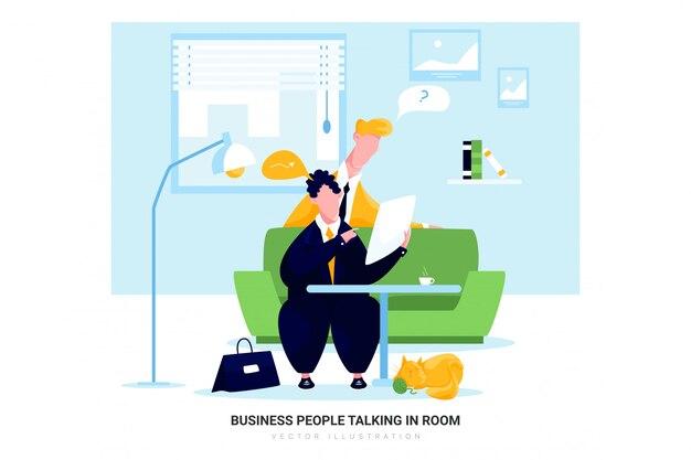 Mensen uit het bedrijfsleven praten in de kamer