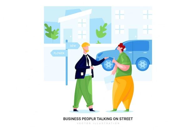 Mensen uit het bedrijfsleven praten op straat
